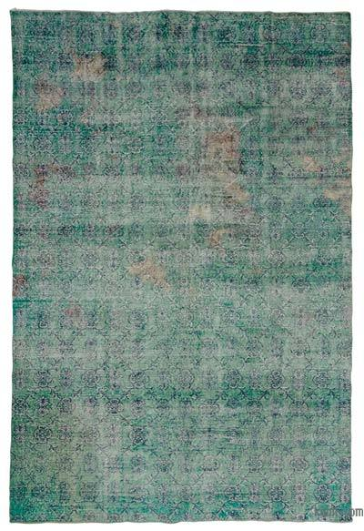 Turquoise Over-dyed Turkish Vintage Rug - 7' x 10'9'' (84 in. x 129 in.)