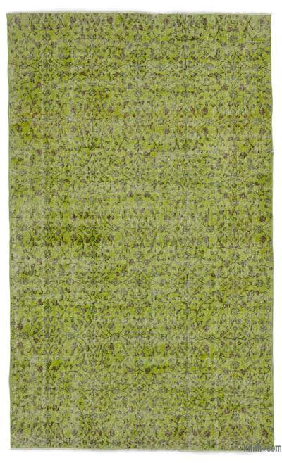 Green Over-dyed Turkish Vintage Rug - 4'1'' x 6'9'' (49 in. x 81 in.)