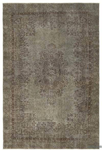 Grey Over-dyed Turkish Vintage Rug - 6'2'' x 9'8'' (74 in. x 116 in.)