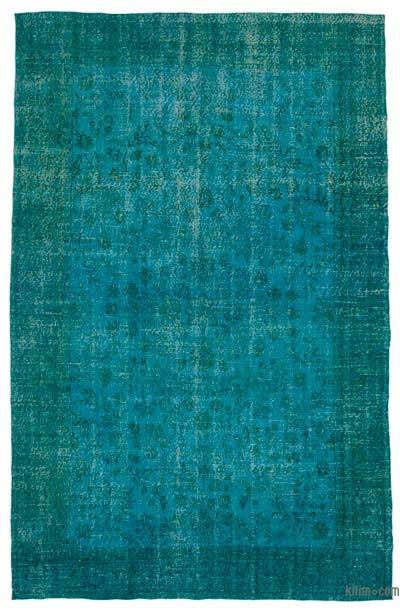 Turquoise Over-dyed Turkish Vintage Rug - 6'4'' x 9'10'' (76 in. x 118 in.)