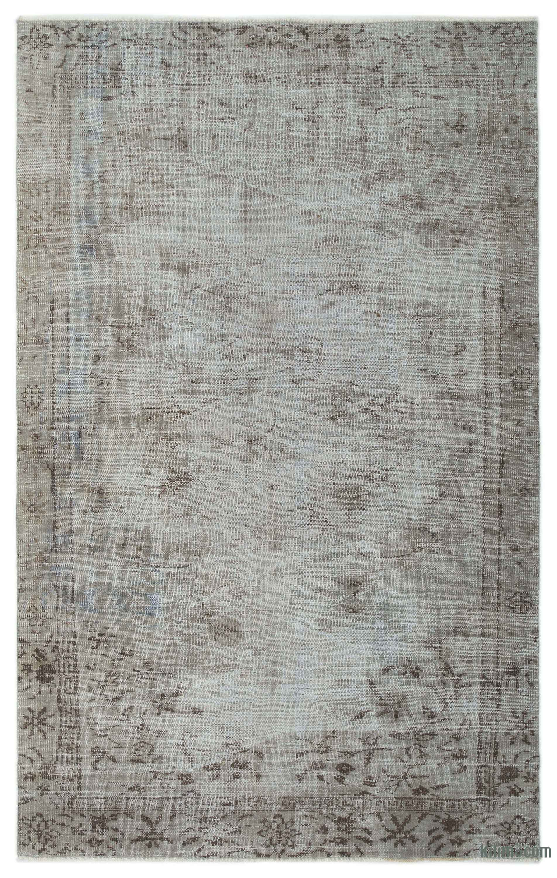K0024600 Grey Over Dyed Turkish Vintage Rug 5 7 X 8 10