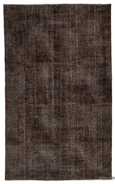 Brown Over-dyed Turkish Vintage Rug - 6'3'' x 10'2'' (75 in. x 122 in.)
