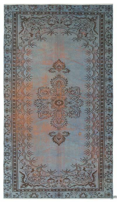 Light Blue Over-dyed Turkish Vintage Rug - 4'9'' x 8'4'' (57 in. x 100 in.)
