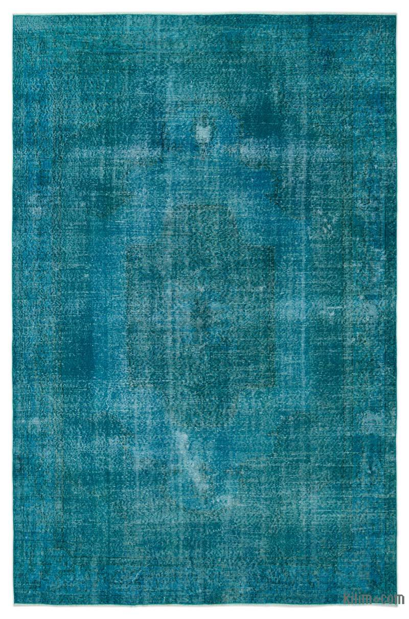 K0024752 Turquoise Over Dyed Turkish Vintage Rug 6 8 X