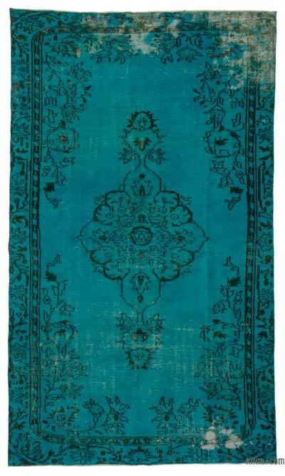 Turquoise Over-dyed Turkish Vintage Rug - 5'3'' x 8'10'' (63 in. x 106 in.)