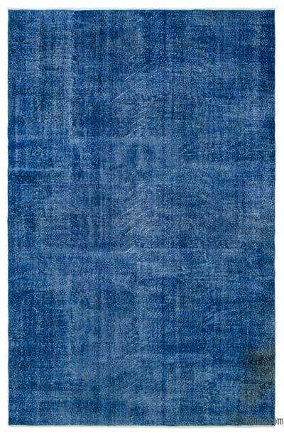 Blue Over-dyed Turkish Vintage Rug - 6'9'' x 10'4'' (81 in. x 124 in.)