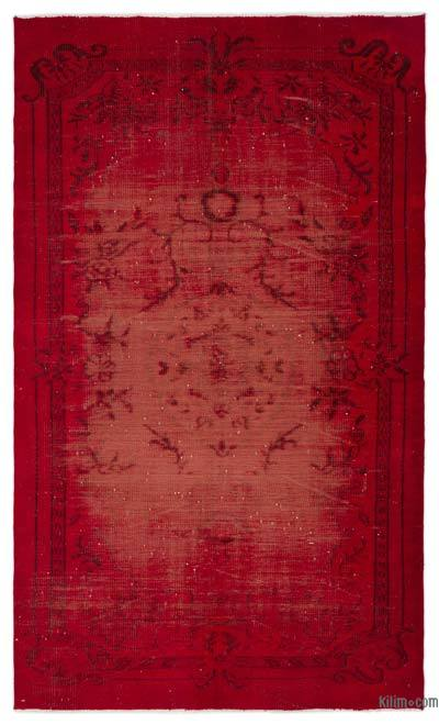 Red Over-dyed Turkish Vintage Rug - 5'5'' x 8'11'' (65 in. x 107 in.)