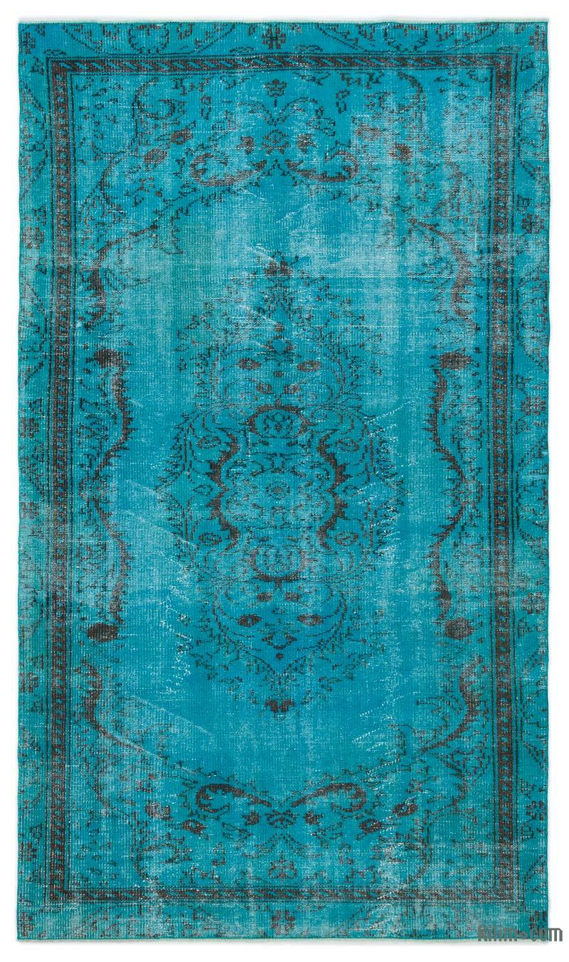 K0024828 Turquoise Over Dyed Turkish Vintage Rug 4 10 Quot X