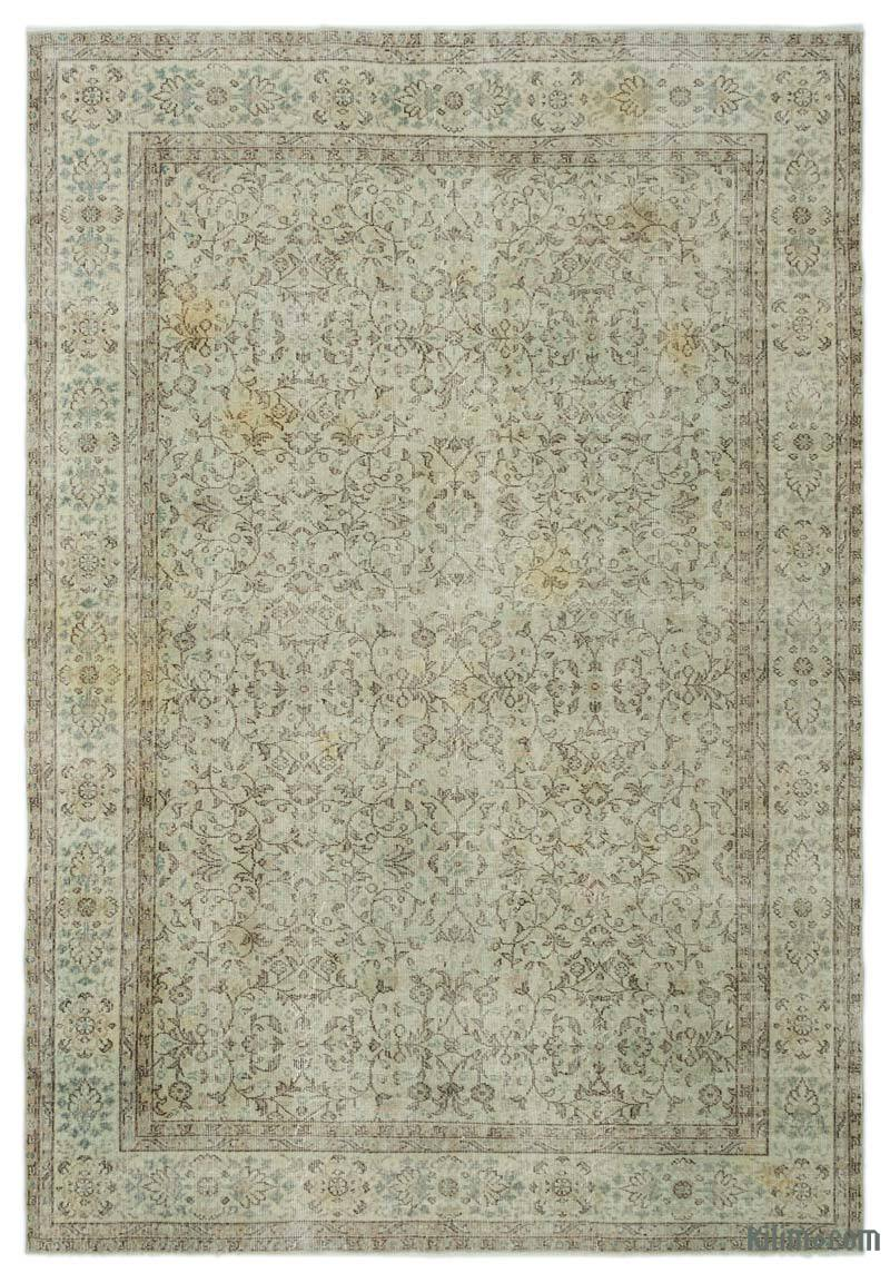 K0024866 Green Over Dyed Turkish Vintage Rug 6 9 X 9