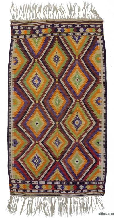 Multicolor Vintage Antalya Kilim Rug - 4'11'' x 8'8'' (59 in. x 104 in.)
