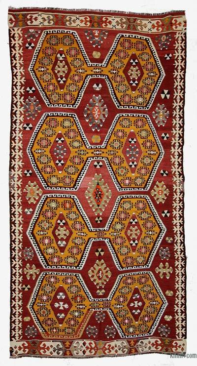 Red, Yellow Vintage Mut Kilim Rug - 4'4'' x 8'8'' (52 in. x 104 in.)