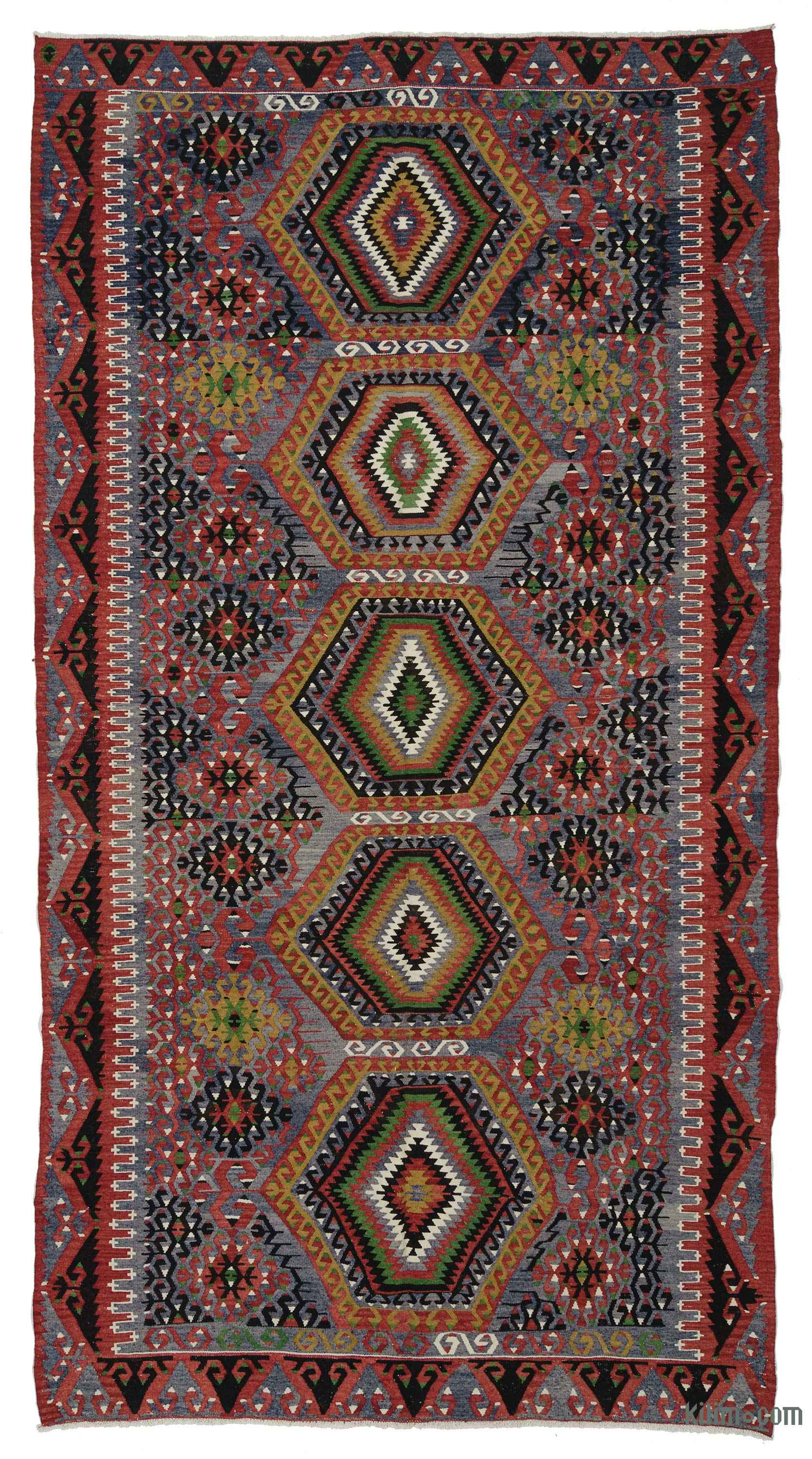 Red Light Blue Vintage Esme Kilim Rug 6 3 X 11 8 75 In 140