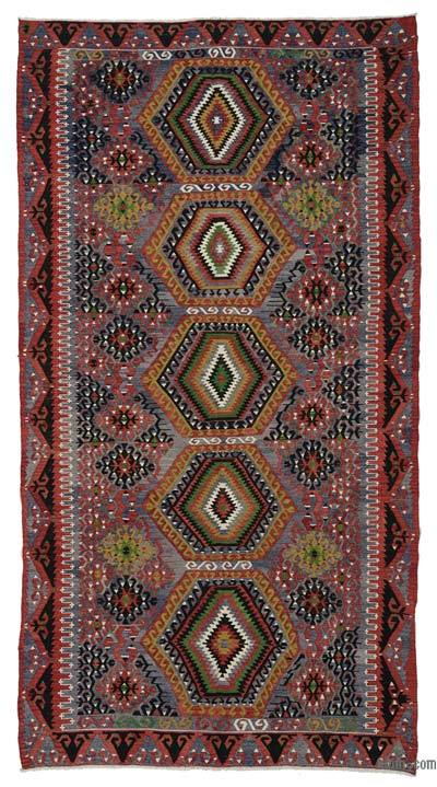Red, Light Blue Vintage Esme Kilim Rug - 6'3'' x 11'8'' (75 in. x 140 in.)