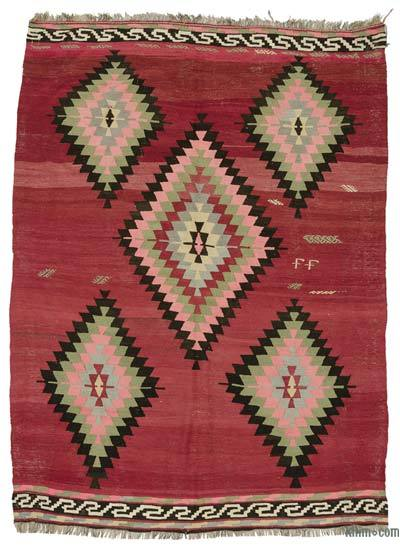 Red Vintage Turkish Kilim Rug - 6'3'' x 8'10'' (75 in. x 106 in.)