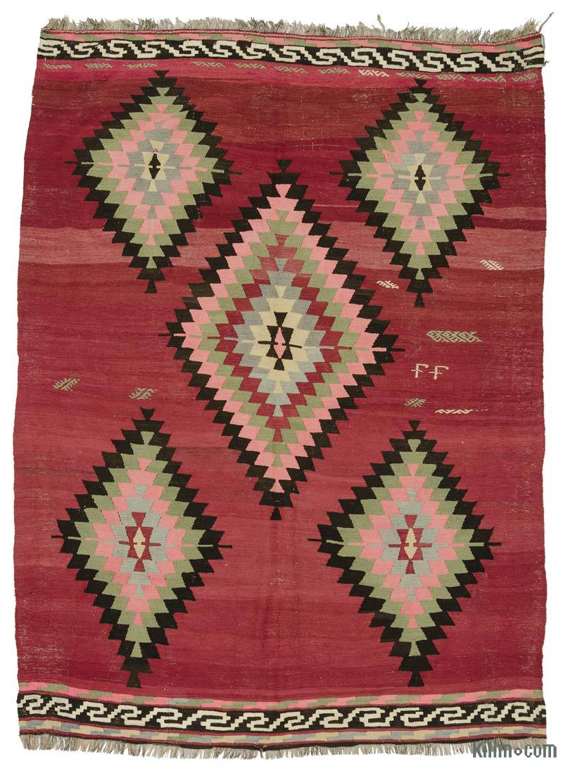 K0025098 Red Vintage Turkish Kilim Rug 6 3 X 8 10