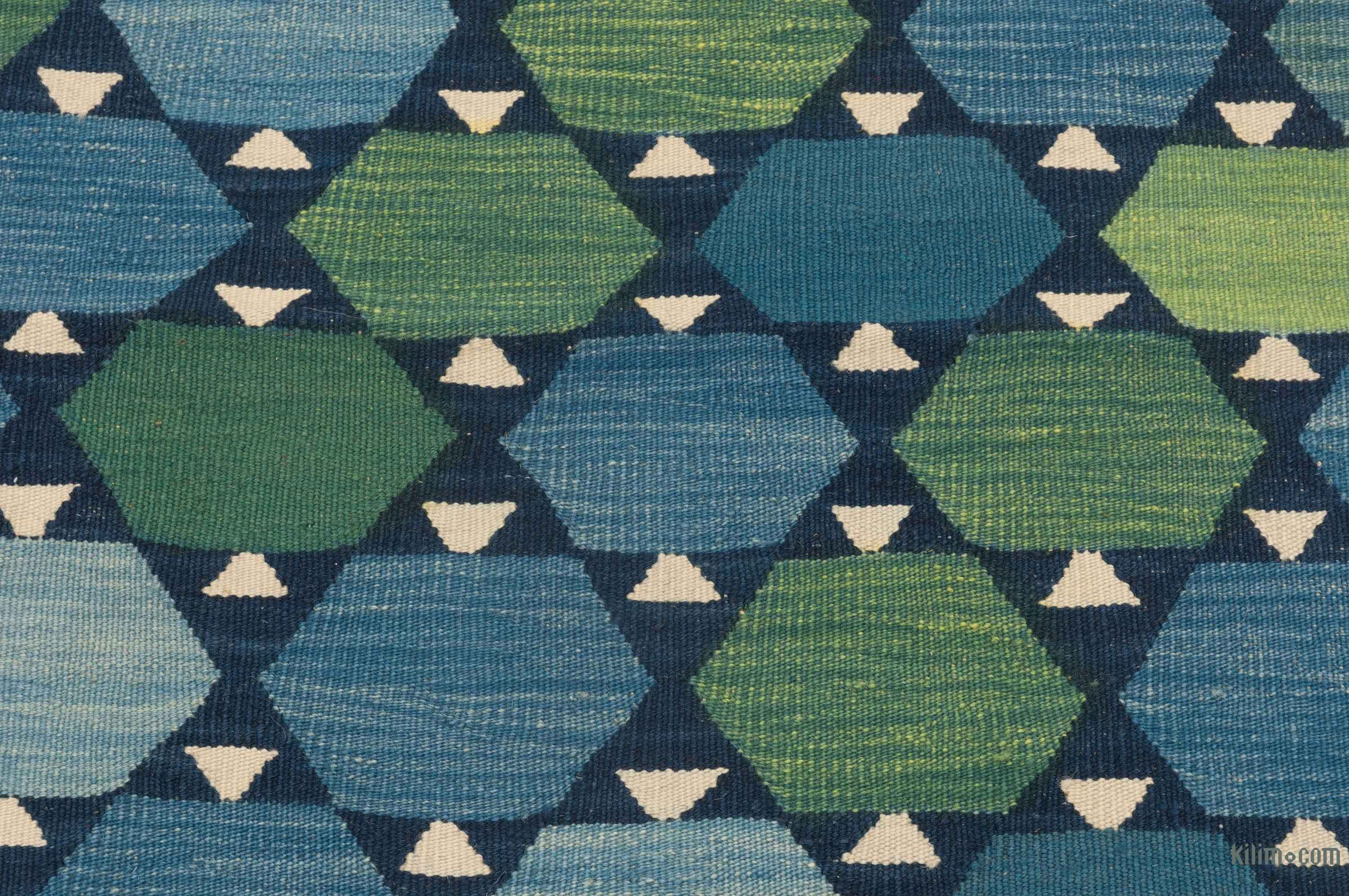K0025101 Blue Green New Turkish Kilim Runner