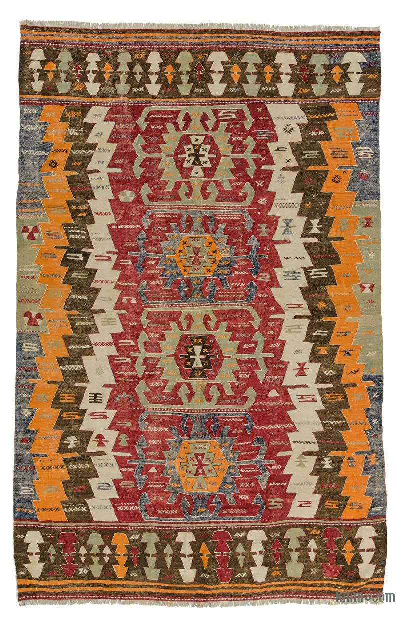 K0025137 Red Antique Afyon Kilim Rug