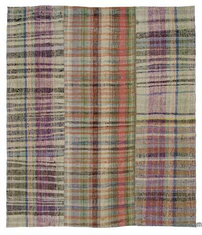 Multicolor Vintage Turkish Pala Kilim (Chaput) - 6'4'' x 7'7'' (76 in. x 91 in.)
