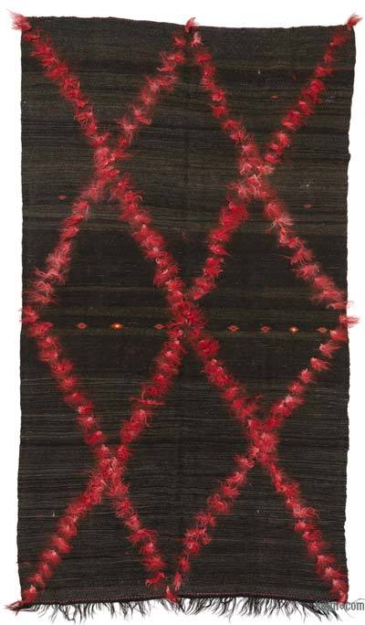 Brown, Red Vintage Turkish Kilim Rug - 6'6'' x 11'11'' (78 in. x 143 in.)