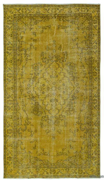 Yellow Over-dyed Turkish Vintage Rug - 4'9'' x 8'5'' (57 in. x 101 in.)
