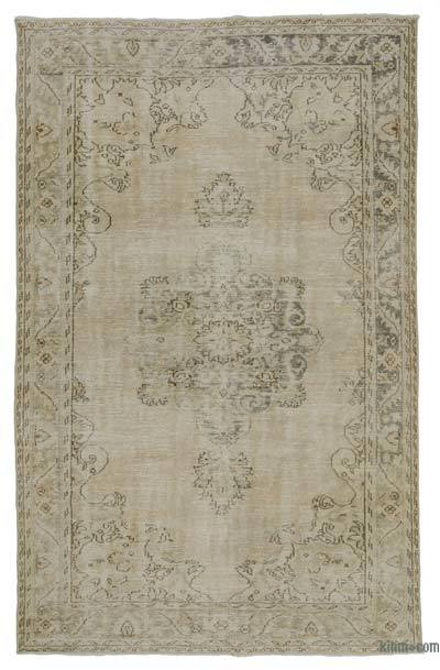 Beige Over-dyed Turkish Vintage Rug - 6' x 9'8'' (72 in. x 116 in.)