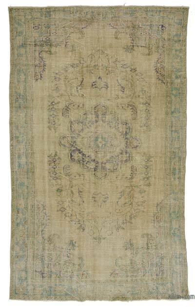 Beige Over-dyed Turkish Vintage Rug - 6'5'' x 10'6'' (77 in. x 126 in.)