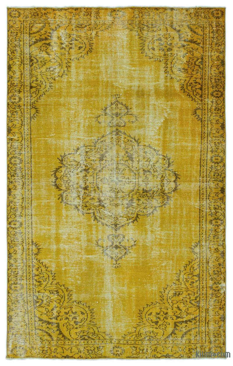 K0025393 Yellow Over Dyed Turkish Vintage Rug 5 8 X 9