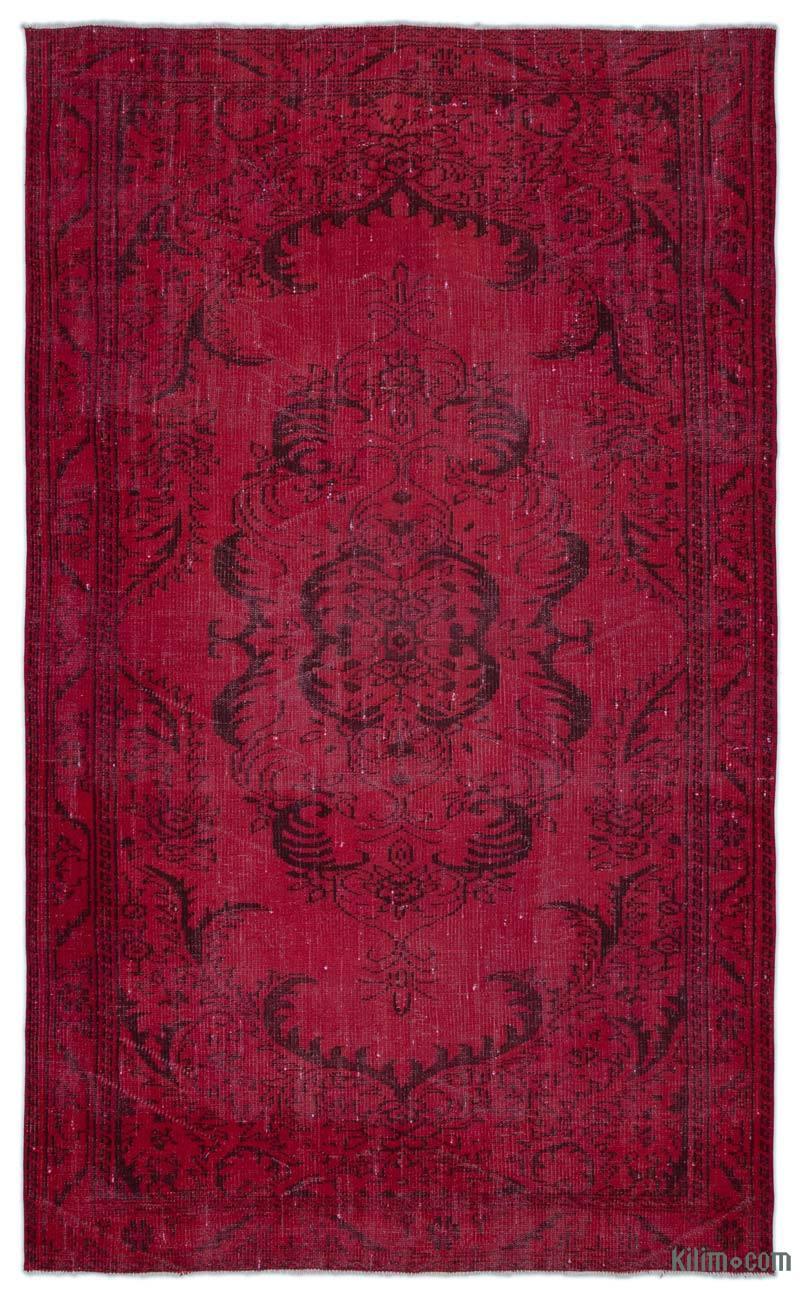 K0025421 Red Over Dyed Turkish Vintage Rug 5 4 X 8 10