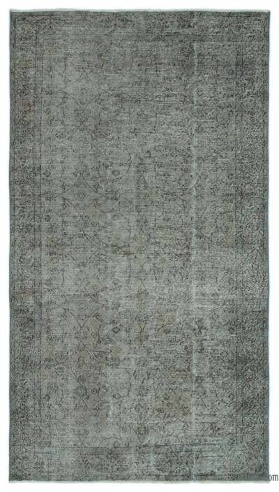 Grey Over-dyed Turkish Vintage Rug - 4'7'' x 8'5'' (55 in. x 101 in.)
