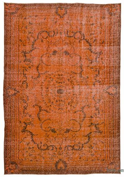 Orange Over-dyed Turkish Vintage Rug - 6'8'' x 9'9'' (80 in. x 117 in.)