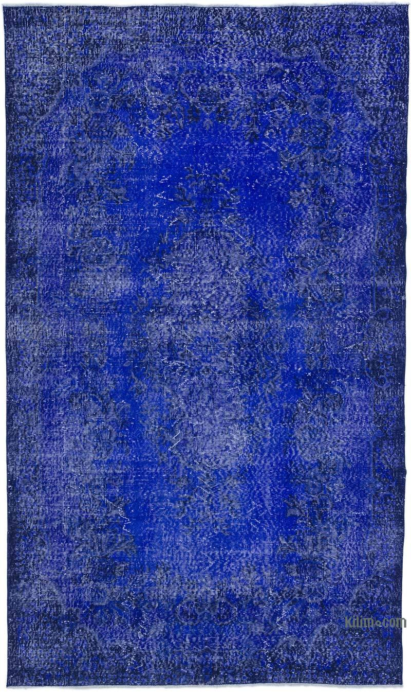 K0025512 Blue Over Dyed Turkish Vintage Rug 5 6 X 9 5