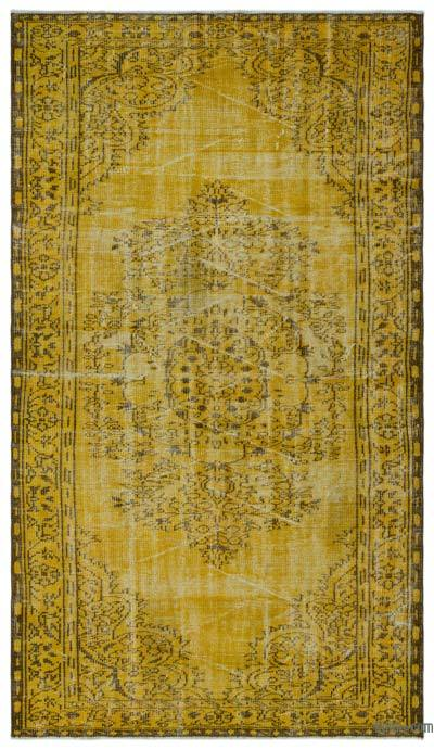 Yellow Over-dyed Turkish Vintage Rug - 5'1'' x 9'2'' (61 in. x 110 in.)