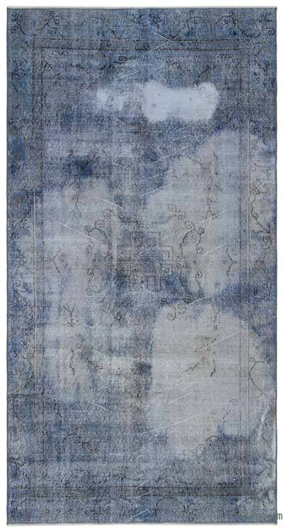 Blue Over-dyed Turkish Vintage Rug - 5'2'' x 9'6'' (62 in. x 114 in.)