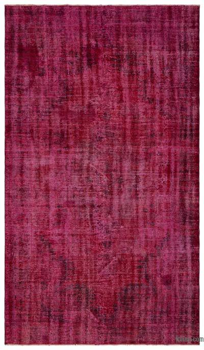 Red Over-dyed Turkish Vintage Rug - 5'2'' x 8'10'' (62 in. x 106 in.)