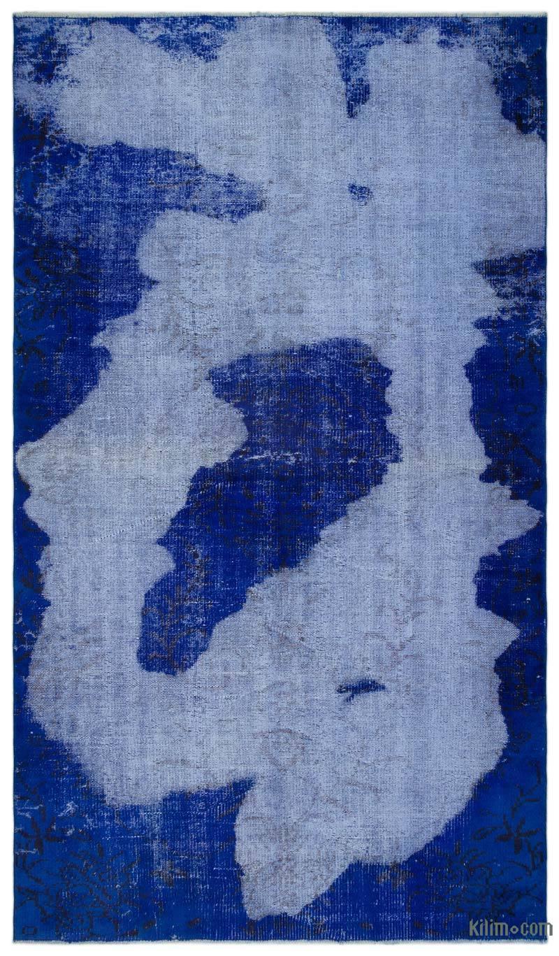 K0025657 Blue Over Dyed Turkish Vintage Rug 4 11 X 8 7