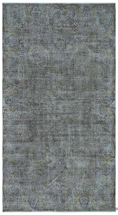 Grey Over-dyed Turkish Vintage Rug - 5'1'' x 9'4'' (61 in. x 112 in.)
