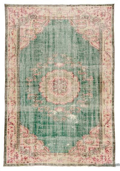 Multicolor Turkish Vintage Area Rug - 6'11'' x 9'11'' (83 in. x 119 in.)