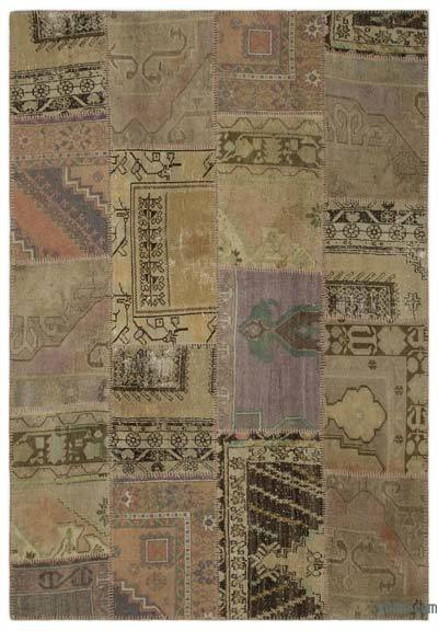 Beige Turkish Patchwork Rug - 5'3'' x 7'7'' (63 in. x 91 in.)