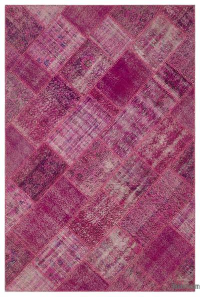 Pink Over-dyed Turkish Patchwork Rug - 5'3'' x 7'7'' (63 in. x 91 in.)