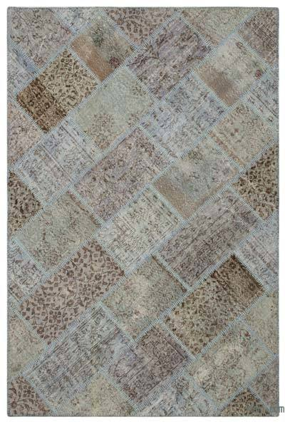 Blue Over-dyed Turkish Patchwork Rug - 5'3'' x 7'8'' (63 in. x 92 in.)