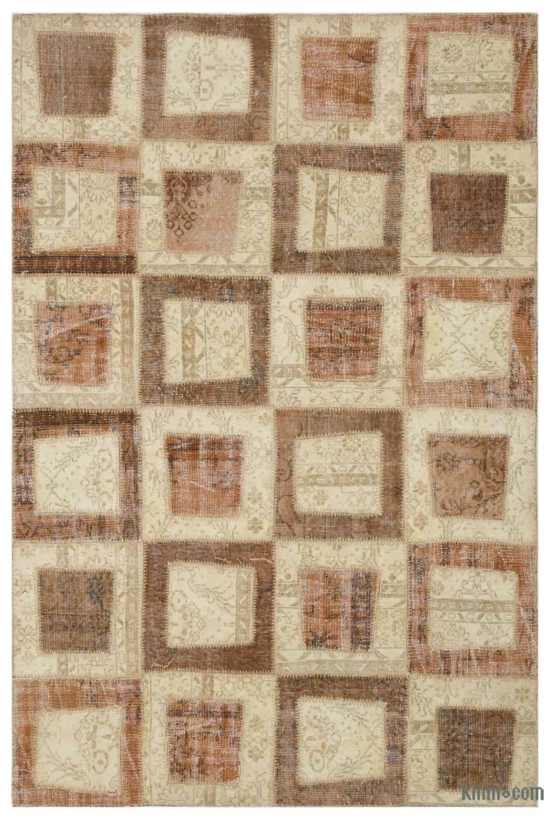 K0026779 Beige Brown Over Dyed Turkish Patchwork Rug 5