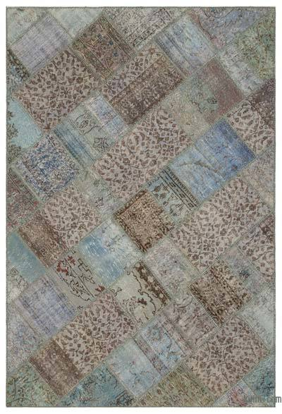 "Over-dyed Turkish Patchwork Rug - 5'3"" x 7'8"" (63 in. x 92 in.)"