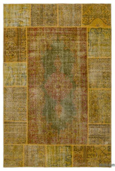 Over-dyed Turkish Patchwork Rug - 6'1'' x 9'3'' (73 in. x 111 in.)
