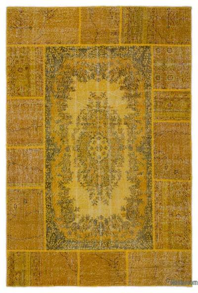 Over-dyed Turkish Patchwork Rug - 6'1'' x 9'5'' (73 in. x 113 in.)
