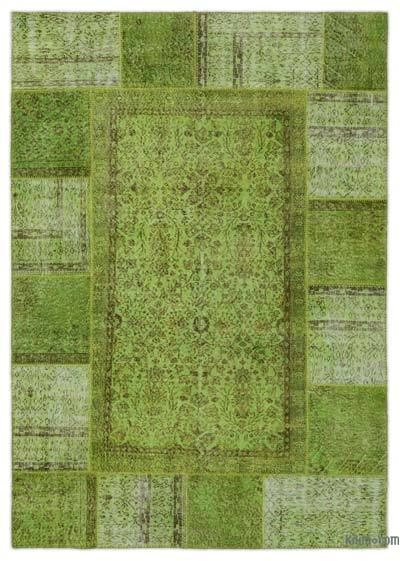 "Over-dyed Turkish Patchwork Rug - 6'2"" x 8'10"" (74 in. x 106 in.)"