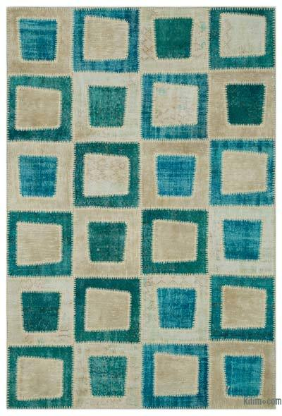 "Over-dyed Turkish Patchwork Rug - 5'3"" x 7'10"" (63 in. x 94 in.)"