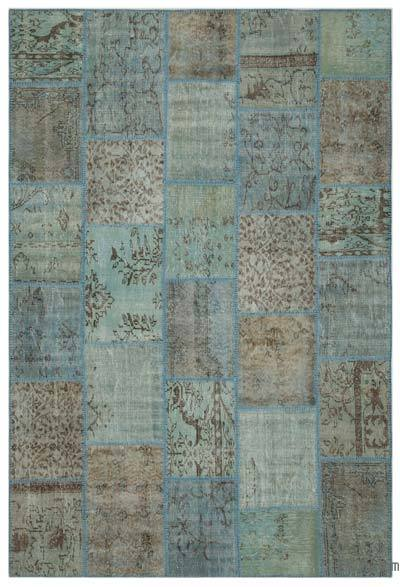 Blue Over-dyed Turkish Patchwork Rug - 6'3'' x 9'4'' (75 in. x 112 in.)