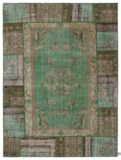 Green Turkish Patchwork Rug - 9'1'' x 12'2'' (109 in. x 146 in.)