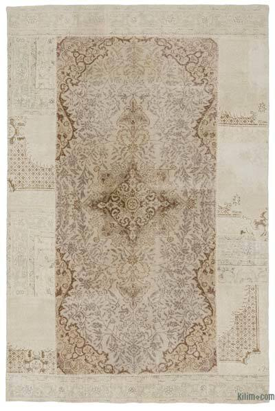 Beige Turkish Patchwork Rug - 6' x 9'1'' (72 in. x 109 in.)