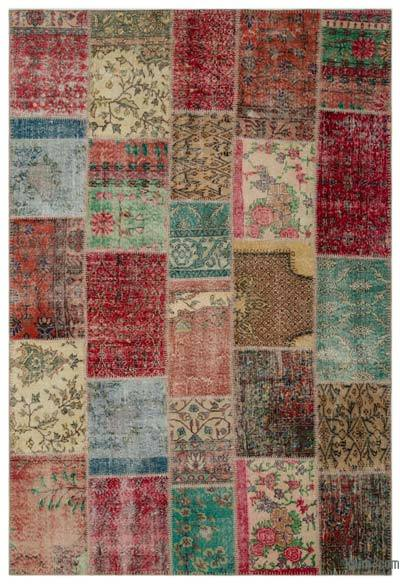 Turkish Patchwork Rug - 6'3'' x 9'1'' (75 in. x 109 in.)